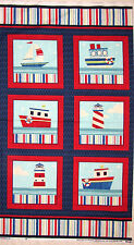 Nautical Sailboat Fabric - Lighthouse Ocean Sea Ship Ahoy Benartex #3050 - PANEL