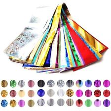 50 x Nail Foils - Mixed Nail Art Transfer Foil Wraps Decal Glitter Stickers Glue