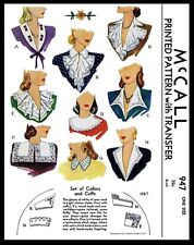 McCall Pattern #947 9 Collar Jabot and Cuffs Fabric Sewing Patterns Vintage 40's