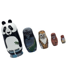 Set of 5 Panda Animals Wooden Russian Stacking Doll Matryoshka Nesting Dolls