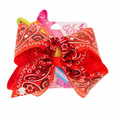 Official JoJo Siwa Large Red Bandana Print Signature Hair Bow Brand New