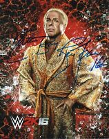 "WWE SIGNED PHOTO RIC FLAIR WRESTLING 8x10"" PROMO WITH PROOF"