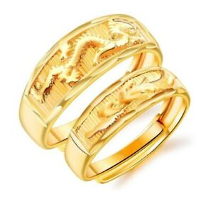 18ct Gold Plated Various Style Unisex Size Adjustable Open Band Wedding Ring