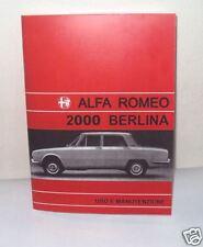 Uso e manutenzione Alfa Romeo 2000 Berlina Owner's manual