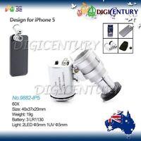 60x Mini Magnification Digital Magnifier Microscope Lens + LED iPhone 5 5S 4 4S