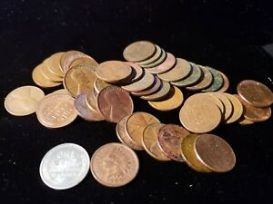 WHEAT PENNIES MIXED 1909-1958 INCLUDES 1 STEEL AND 1 INDIAN HEAD P-D AND S