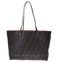 Authentic FENDI Zucca Pattern Shoulder Bag Coating Canvas Leather Brown 05MD919