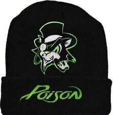 Poison Wool Hat Black Beanie Knit Cat Green Logo Bret Michaels DeVille Rock Band
