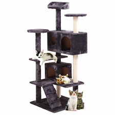 pet house cat tree tower condo furniture scratch post kitty play grey new