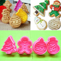 4Pcs Christmas Cookie Biscuit  Plunger Cutter Mould Fondant Cake Mold Baking OU