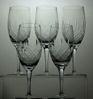 """CRYSTAL CUT GLASS CHAMPAGNE FLUTES SET OF 5 - 7"""" TALL"""