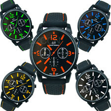 Luxury Men's Silicone Black Sport Watch Cool Quartz Analog Wrist Watches Gift