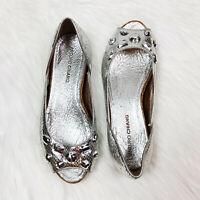 ARTURO CHIANG Women's Shoes Ballet Flats Peep Toe Leather Silver Snake Gems 8.5