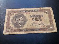 GERMANY OCCUPATION - 20 Dinara 1941 - Yugoslavia - Serbia -  banknotes !