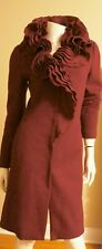 Elie Tahari Red Wool Ruffle Coat Size XS