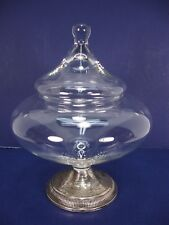VINTAGE DUCHIN CREATION WEIGHTED STERLING GLASS WITH LID COMPOTE CANDY DISH BOWL