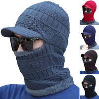 Mens Winter Neck Warmer Hat Knit Visor Hats Beanie With Brim Caps Balaclava Hood