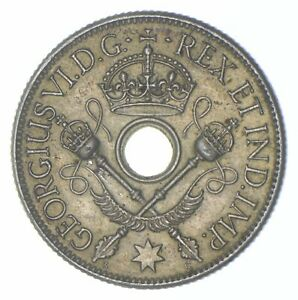 Roughly the Size of a Quarter 1938 New Guinea 1 Shilling World Silver Coin *356