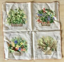"""Vintage 14"""" Linen Handkerchief w/4 Baskets Of Flowers - Hand Rolled/Stitched"""