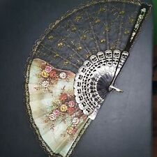 Hand Fan Made In Spain Floral Black/ Gold