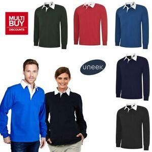 UNEEK CLASSIC RUGBY SHIRT  Mens Long Sleeve Sports Polo Top 100% Cotton  UC402