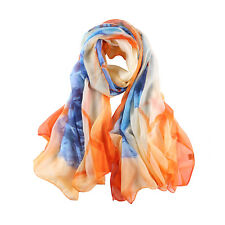 Extra Long and Wide Chiffon Scarf Beach Scarf Blue and Orange Painting CHD325