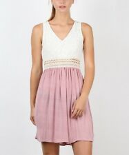 Sleeveless Dress Size 12 Ladies Womens V Neck Ivory & Pink New #B-1127