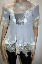 SNIDEL Brand Grey Blue Lace Trim Open Back Tunic Top Size S BNWT #TP94