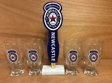 Newcastle Winter IPA Beer Tap Handle w/ 4 Matching Glasses New & Free Shipping