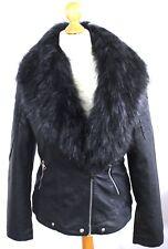 Women Leather Jacket Faux Fur Collar Fleece Biker Jacket UK Size XL