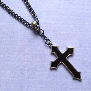 Alchemy Gothic Osbourne's Cross Pendant Necklace Pewter Enamel Metal-Wear P618