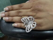 4ctw Round Diamond Ladies Butterfly Fancy Engagement Ring in 14K White Gold Over