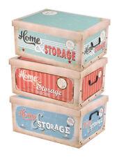 Aufbewahrungsbox Retro - 3er Set - Home Storage Stapelbox Deko Box Geschenkbox