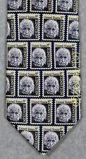 EINSTEIN POSTAGE STAMP PHYSICS SCIENCE Museum Artifacts Silk Necktie RARE! NEW!