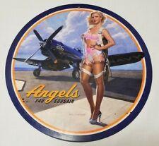 "WWII Fighter F4U Corsair Angels Pin Up Pinup Girl Tin Metal Sign 14"" Diameter"