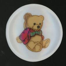 "Dollhouse Teddy Bear painted on Plate Doll House size Plate 1 5/8"""