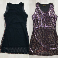 Pussycat London Animal Print Sequin Dress Black Lace Back Size L E3