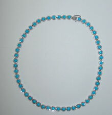"""Sleeping Beauty Turquoise Diamond-Cut Sterling Silver Tennis Necklace 18"""""""