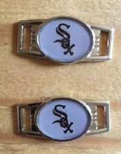 PAIR OF OVAL MLB CHICAGO WHITE SOX SHOELACE PARACORD BRACELET CHARMS
