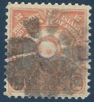 FANCY CANCEL WHEELED FLOWER WITH LINCOLN'S EYE IN CENTER, PHILIPPINES STAMP 12C