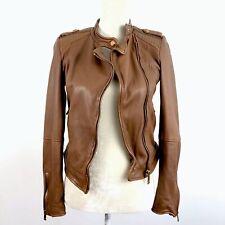 Zara Genuine Leather Brown Stud Accent Full Zip Biker Jacket XS