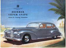 Humber Super Snipe Mk III Original UK Sales Brochure No. 104/7/50/35/E1 1950