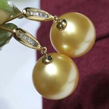Stunning AAA+ 8-9mm natural south sea round Gold Pearl Earrings 18k Gold