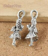 2 Antique Silver Alice in Wonderland Charms - Alice Charms - Mad Hatter 32mm