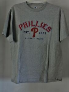 Philadelphia Phillies MLB Men's Short Sleeve Shirt Gray Size Large VGUC