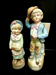 LOVELY PR. VICTORIAN 1880'S  BISQUE GERMAN FIGURINES  BOY AND GIRL