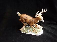 Vintage 1986 White Tail Running Deer Duck Figurine,Homco Porcelain Deer,Signed