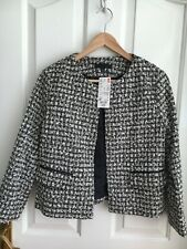 Uniqlo Black White Boucle Jacket Cropped XS UK 8 BNWT Smart Career Work