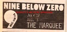 NINE BELOW ZERO UK TIMELINE Advert - Marquee 17-July 3-Aug 1980 1x3 inches