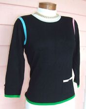 BY ARTISAN PETITE Sweater PM New NWT $98 BLACK Colorful Trim 3/4 Slvs Whimsical
